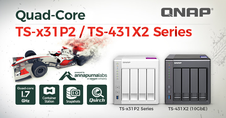 QNAP Releases TS-x31P2 and TS-431X2 Entry-level NAS Series for SMB and Home