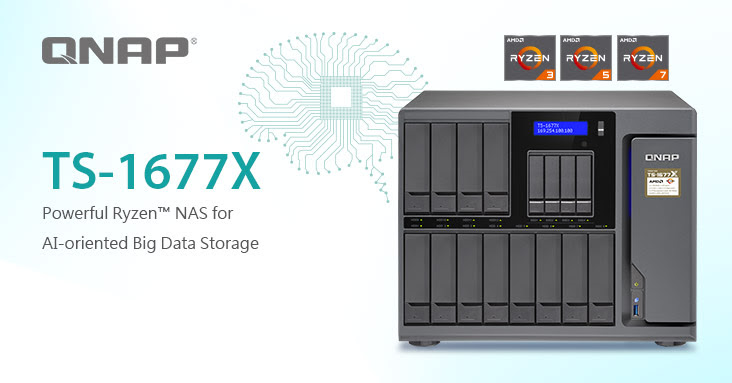 QNAP Unleashes 16-bay TS-1677X Ryzen NAS, Up to 8 Cores with Graphics Processing for AI Machine Learning