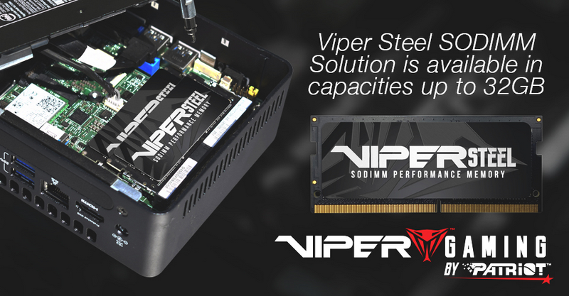 VIPER GAMING by PATRIOT adds 32GB modules into VIPER STEEL DDR4 UDIMM and SODIMM Performance Memory