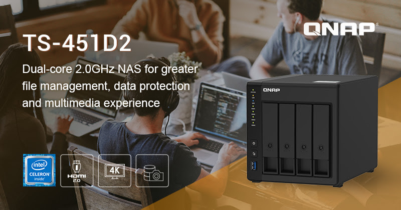 QNAP Introduces 4-bay TS-451D2 Intel J4025 Dual-core NAS