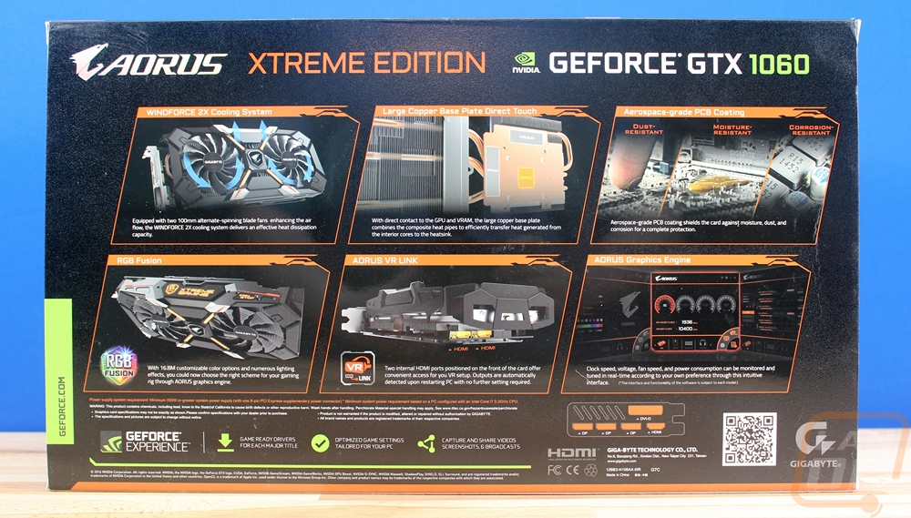 Gigabyte Aorus GTX 1060 Xtreme Edition 9 Gbps - LanOC Reviews