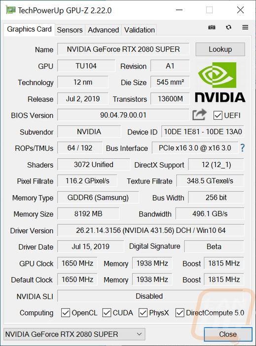 Nvidia RTX 2080 SUPER Founders Edition - LanOC Reviews